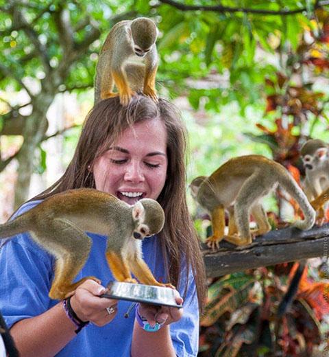 Women holding monkeys in Punta Cana