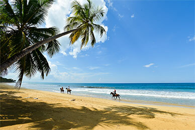 Beach-with-tourist-riding-horses